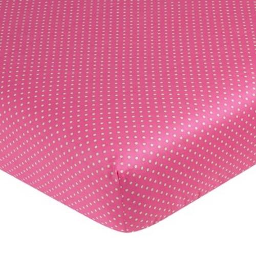 Sweet Jojo Designs Jungle Friends Fitted Crib Sheet - Pink Dot