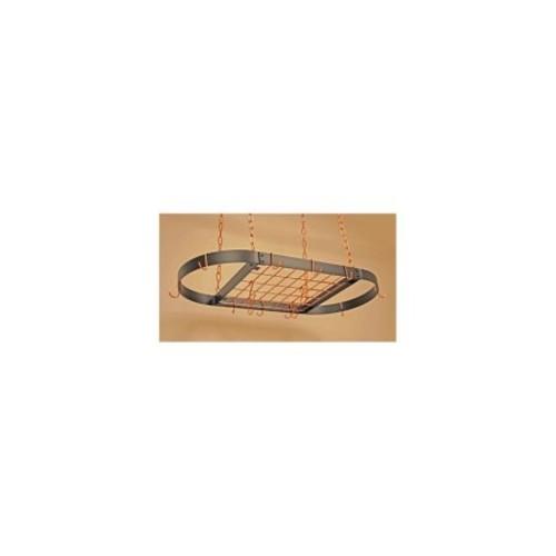 Oval Grid Pot Rack in Black w Copper Hooks - Medium