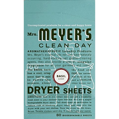 Mrs. Meyer's Clean Day Dryer Sheets, Basil, 80 Count [Basil]