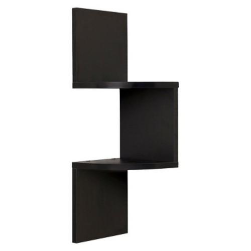 Danya B Laminated Corner Wall Shelf - Black