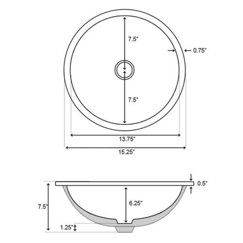15.25-in. W x 15.25-in. D Round Undermount Sink Set In White And Drain