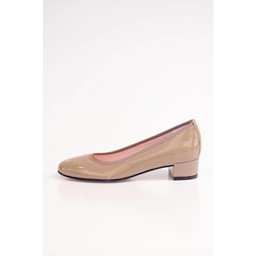 Patent Taupe Court Shoe