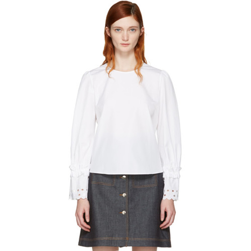 SEE BY CHLOÉ White Eyelet Sleeve Blouse