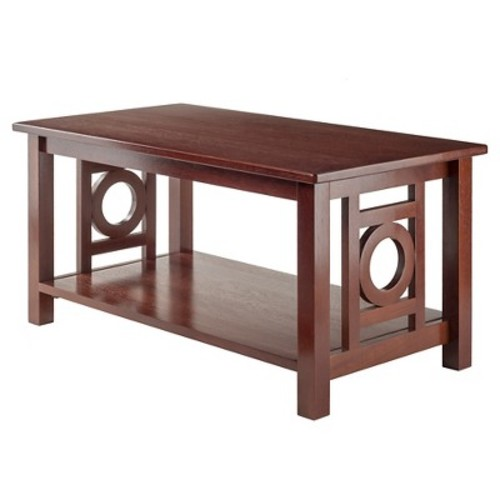 Ollie Coffee Table Deco Panel With Shelf Walnut Finish - Winsome
