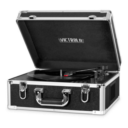 Victrola Full-size Suitcase Record Player with CD Player and Bluetooth, Black