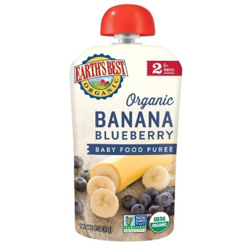 Earth's Best Organic Stage 2 Banana Blueberry Baby Food 4.2 oz