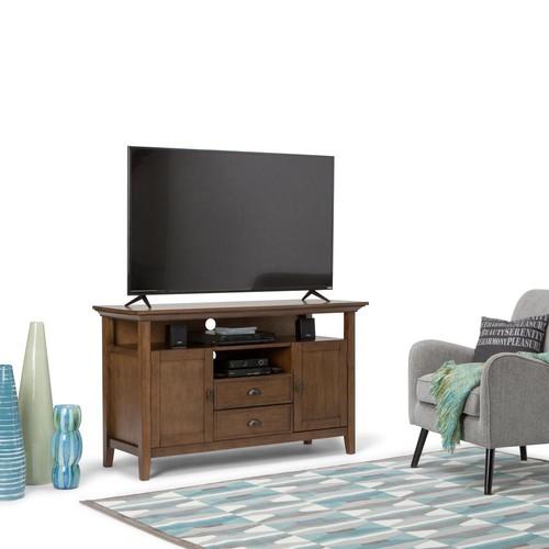Simpli Home Redmond Rustic Natural Aged Brown Storage Entertainment Center