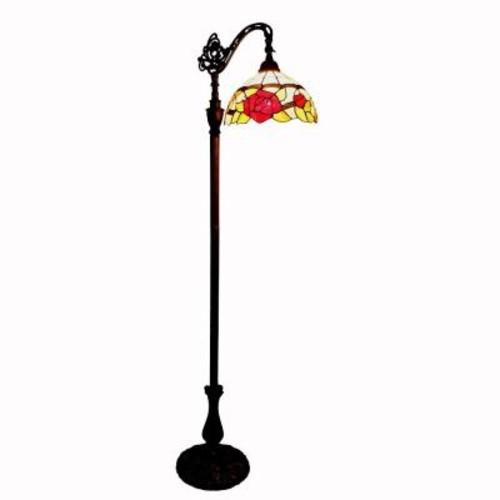 Amora Lighting 62 in. Tiffany Style Roses Reading Floor Lamp