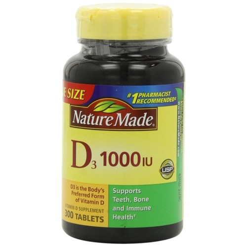 Nature Made Vitamin D3, 1000 IU, Tablets, Value Size, 300 tablets