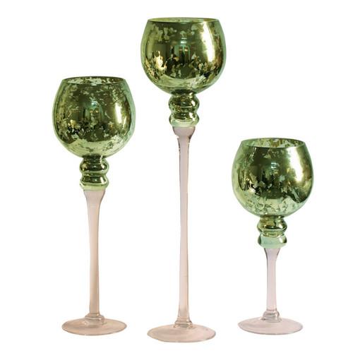 3-piece Green Mercury Glass Stem Vase Set