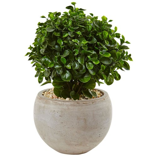 Nearly Natural Indoor/Outdoor Eucalyptus Silk Plant in Sand Colored Bowl UV Resistant