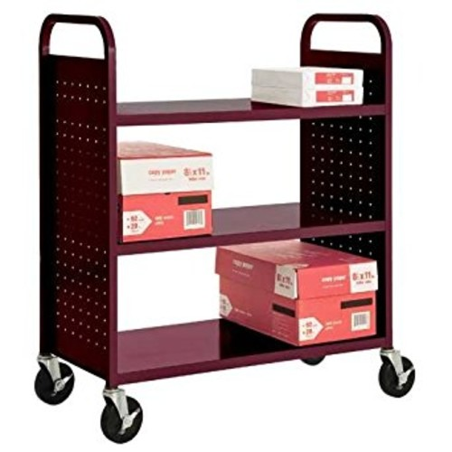Sandusky Lee SF336-03 3 Flat Shelf Book Truck, 19