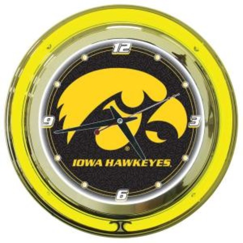 Trademark Global 14 in. University of Iowa Neon Wall Clock