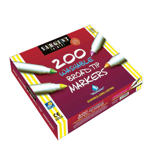 Sargent Art Best-Buy Washable Broad Tip Marker Assortment, 8 Colors, 200 Ct