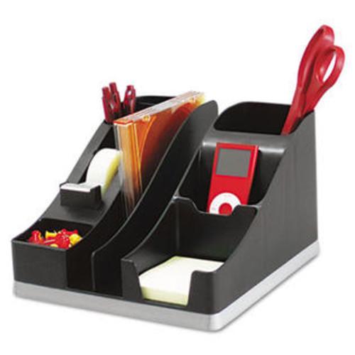 Deflecto All-In-One Caddy, 8 1/8 X 9 1/8 X 5 3/16, Black/silver ORGANIZERS,DESK,PLASTIC
