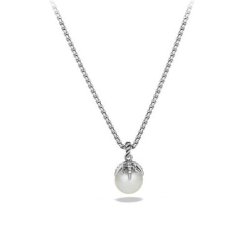 Starburst Pearl Pendant with Diamonds on Chain