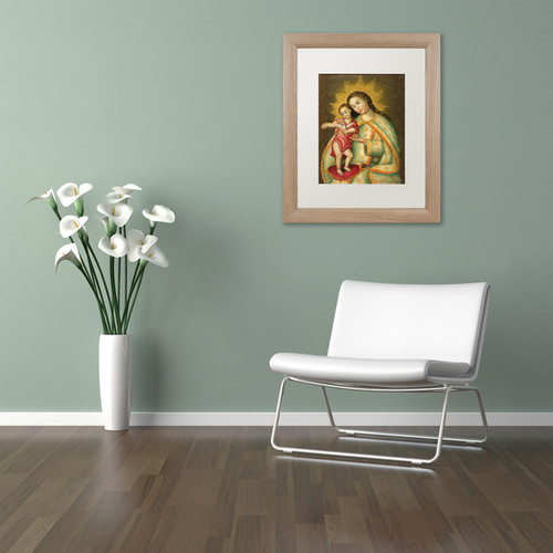 Sergio Cruze 'The Virgin and Son II' Matted Framed Art [option : 11x14]