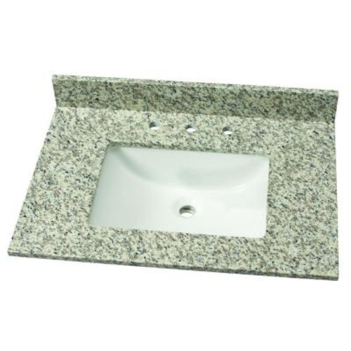 Home Decorators Collection 31 in. W Granite Single Vanity Top in Blanco Perla with White Basin