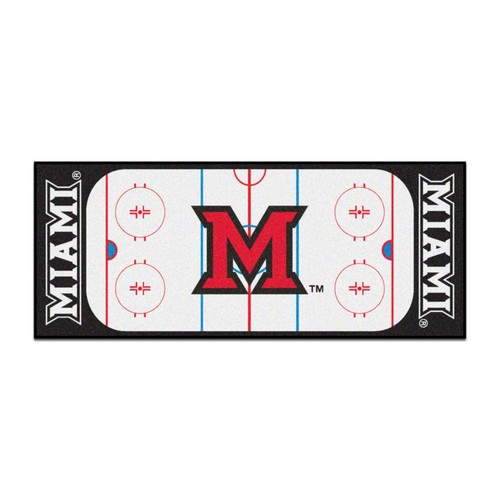 FANMATS NCAA - Miami University White 2 ft. 6 in. x 6 ft. Indoor Hockey Rink Runner Rug
