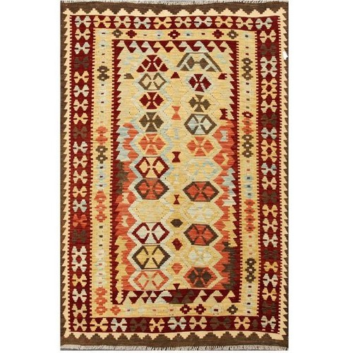 Herat Oriental Afghan Hand-woven Wool Kilim (4'2 x 6'3)