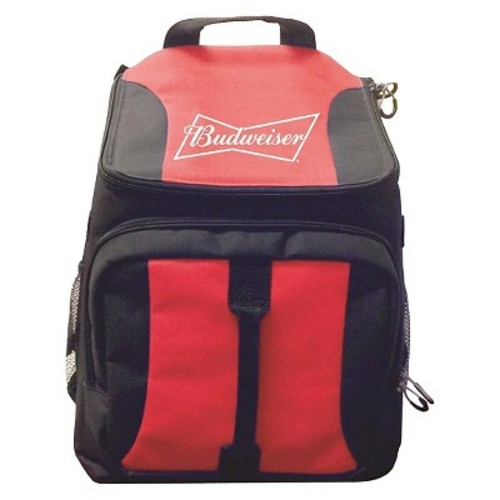 Anheuser-Busch Backpack Cooler Bag with Zippered Front Compartment - Red (28 Can)