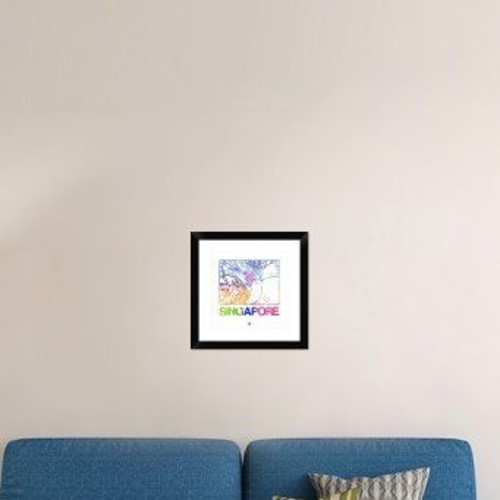 Naxart 'Singapore Watercolor Street Map' Framed Watercolor Painting Print; 18'' H x 18'' W x 1.5'' D