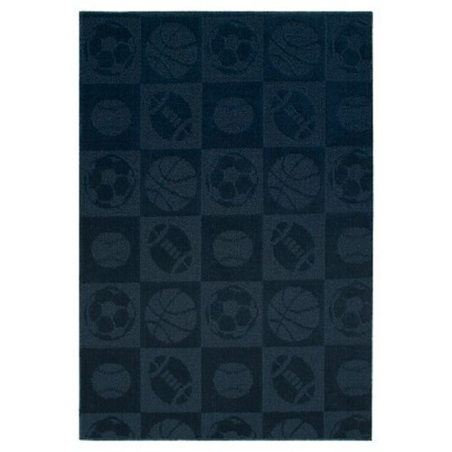 Garland Sports Balls Area Rug - Navy