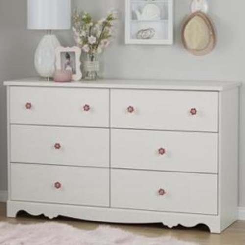 South Shore 10078 Lily Rose 6-Drawer Double Dresser, White Wash