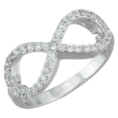 Silver Plated Cubic Zirconia Infinity Band Ring - Size 6