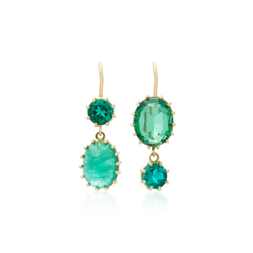18K Gold Gem Emerald Earrings