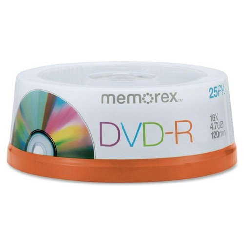 Memorex DVD-R Recordable Media Spindle, 4.7GB/120 Minutes, Pack Of 25