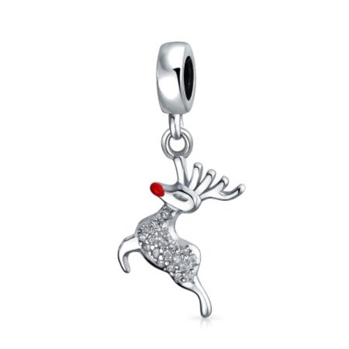 Bling Jewelry 925 Sterling Silver Rudolph Christmas Reindeer Dangle Bead Charm