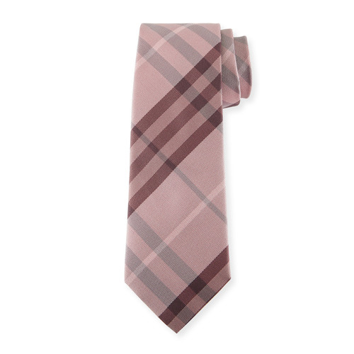 BURBERRY Heathered Check Silk Tie, Pink