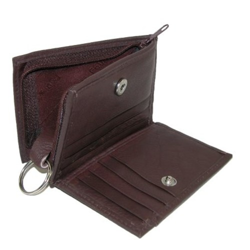 Paul & Taylor Leather Card Case With Zippered Key Fob & Coin Pouch Wallet [Black]