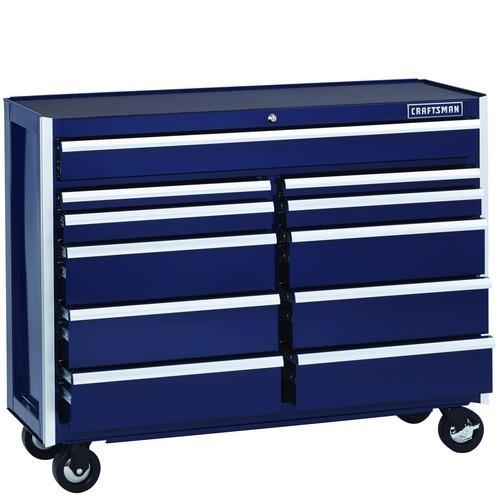 Craftsman EDGE Series 52 In. 11-Drawer Premium Heavy-Duty Ball-Bearing Rolling Cart - Midnight Blue