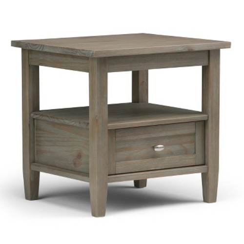 Warm Shaker End Side Table - Distressed Gray - Simpli Home