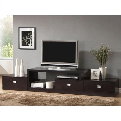 Baxton Studio Marconi Asymmetrical TV Stand in Dark Brown