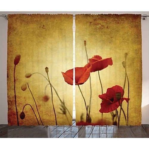 Alcott Hill Welby Poppies And Flower Nature/Floral Semi-Sheer Rod Pocket Curtain Panels (Set of 2)