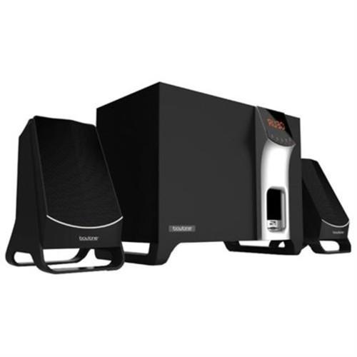 boytone BT-3107F 2.1 Speaker System - 14 W RMS - Wireless Speaker(s) - Black - 40 Hz - 20 kHz - SD, MultiMediaCard (MMC), microSD - Bluetooth - USB - FM Radio, MP3 Player Compatible, Wireless Audio Stream, LED Display - BT-3107F