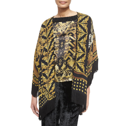 ETRO Printed Silk Fringe Jacket, Bead Embellished Silk Top & Chevron Velvet Pull-On Pants