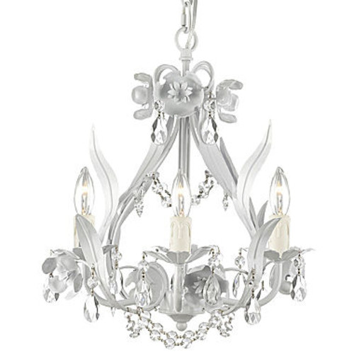 Gallery Floral 4-Light Wrought Iron Crystal Chandelier