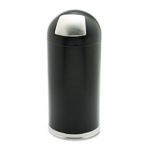 Safco Products Safco 9636BL 15 Gallon Dome Receptacle with Spring-Loaded Door in Black