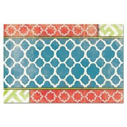 CounterArt Paper Placemat, Coral /Teal quatrefoil, 24-Pack