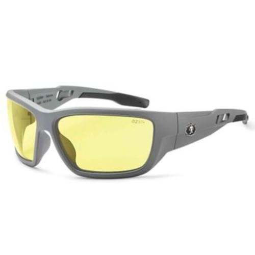 Skullerz BALDR Safety Glasses, Yellow Lens, Matte Gray (57150)