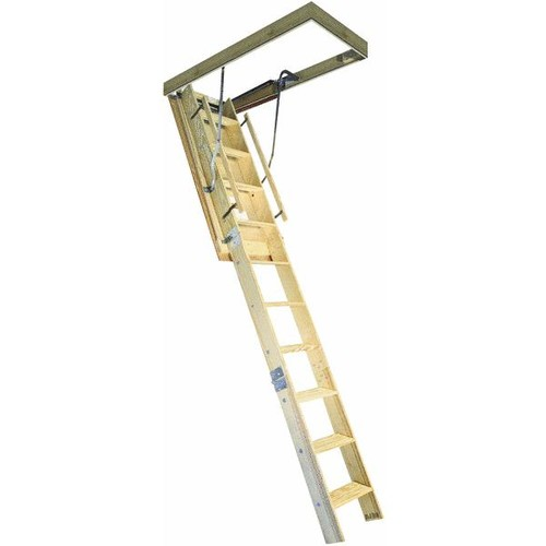 Louisville Ladder SpaceMaker With Thermo Shield And Fire Guard Wood Attic Stairs - AG-100FTS