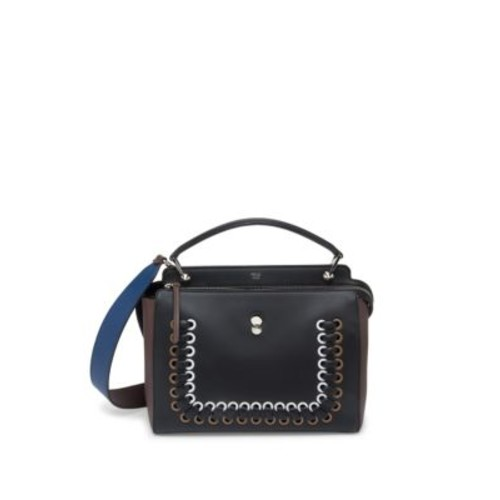 FENDI Dotcom Click Whipstitched Leather Satchel