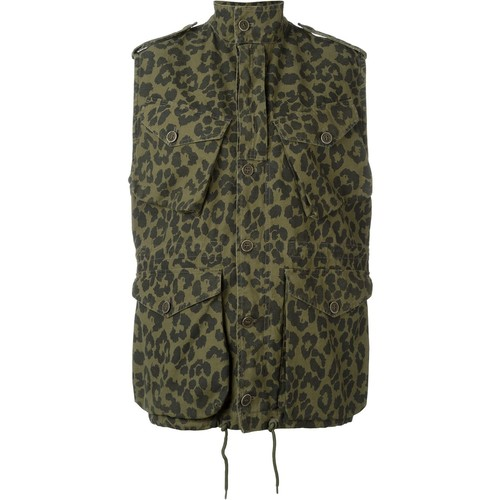 SAINT LAURENT Leopard Print Military Jacket