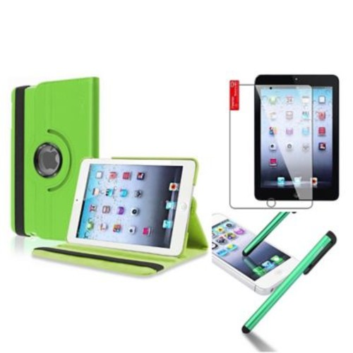 Insten Retina Display 360 Degree Rotating PU Leather Case Cover w Swivel Stand For iPad Mini 3 / 2 / 1 - Green