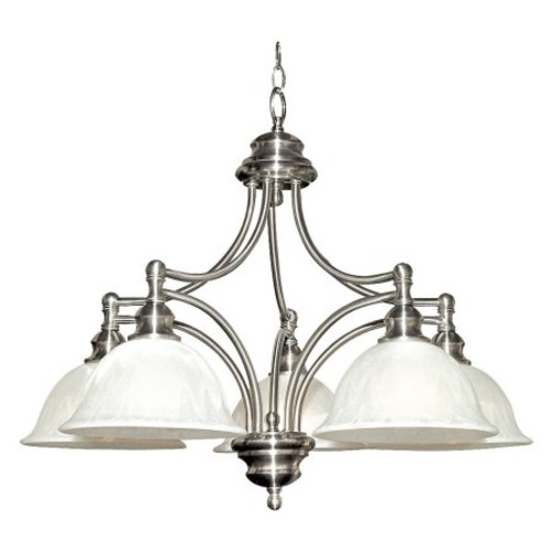 Yosemite Home Decor Broadleaf Collection 5-Light Satin Nickel Hanging Chandelier with Frosted Marble Glass Shade