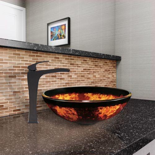 VIGO Auburn/Mocha Fusion Glass Vessel Sink and Blackstonian Faucet Set in Matte Black Finish